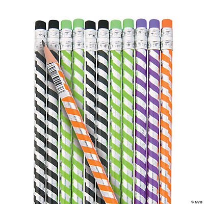 Halloween Foil Striped Pencils