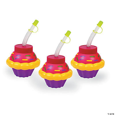 Happy Birthday Cupcake Cups with Straws