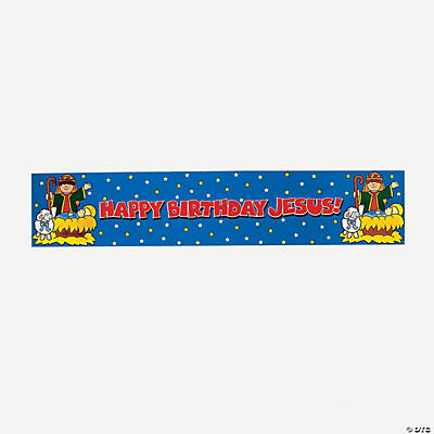 """Happy Birthday Jesus"" Metallic Banner"