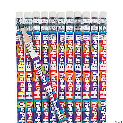 """Happy Birthday"" Striped Pencils"