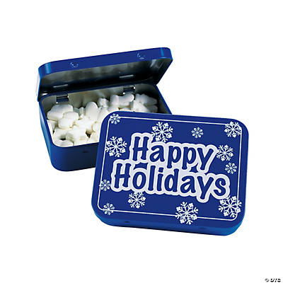 """Happy Holidays"" Tins with Mints"