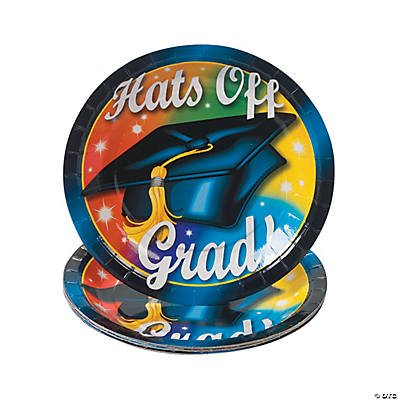 """Hats Off To the Grad!"" Paper Dessert Plates"