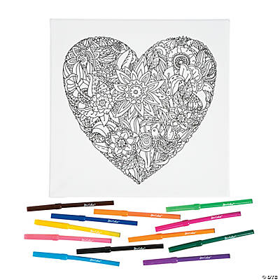 heart coloring canvas kit