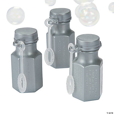 Hexagon Silver Bubble Bottles