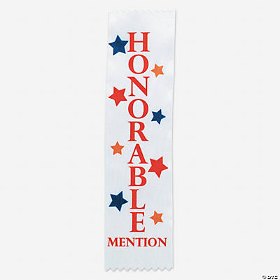 """Honorable Mention"" White Award Ribbons"