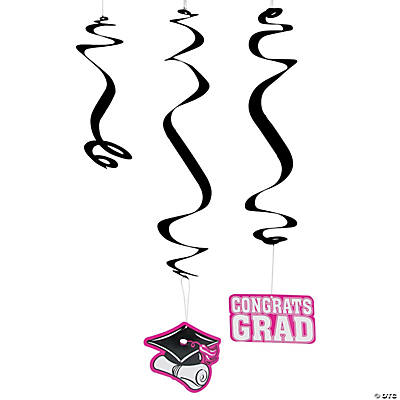 Hot Pink Graduation Hanging Swirl Decorations