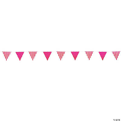 Hot Pink Striped & Polka Dot Pennant Banner