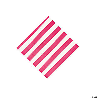 Hot Pink Striped Beverage Napkins