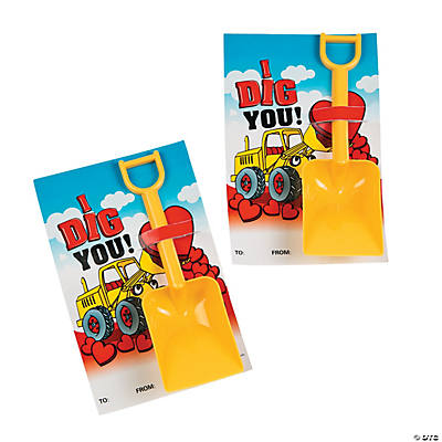 """I Dig You"" Valentine Cards with Shovels"