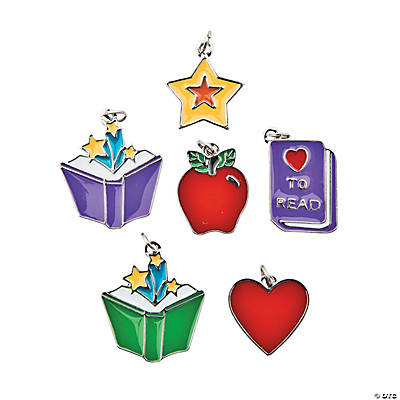 I Love Reading Enamel Charms