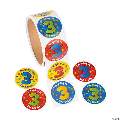 """I'm Going to 3rd Grade"" Sticker Rolls"