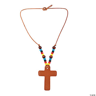 Imitation Leather Cross Necklace Craft Kit