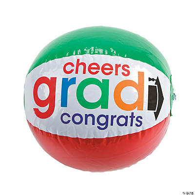 "Inflatable Bright ""Cheers To the Grad"" Beach Balls"