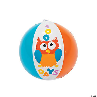 "Inflatable ""100th Day of School"" Mini Beach Ball Assortment"