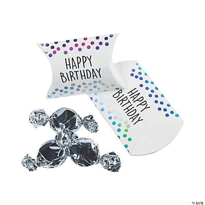 Iridescent Happy Birthday Pillow Boxes
