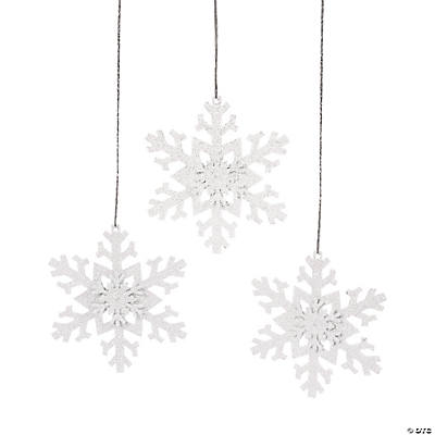 Iridescent Sparkling Snowflake Christmas Ornaments