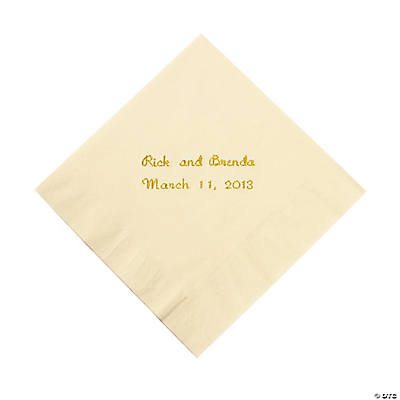 Ivory Personalized Beverage Napkins with Gold Print