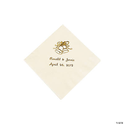 Ivory Wedding Personalized Beverage Napkins with Gold Print