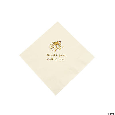 Ivory Wedding Personalized Luncheon Napkins with Gold Print