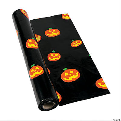 Jack-O'-Lantern Plastic Tablecloth Roll
