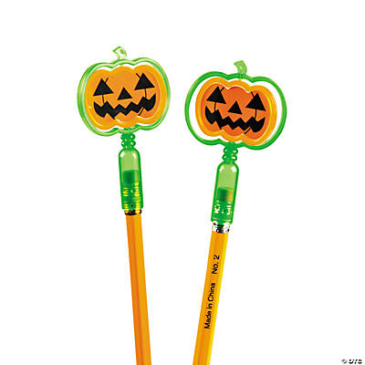 Jack-O'-Lantern Pencil Top Spinners