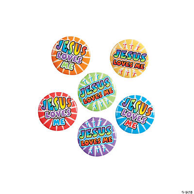 """Jesus Loves Me"" Mini Buttons"