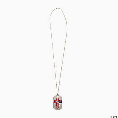 Jewel Cross Dog Tag Necklace Craft Kit