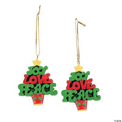 """Joy, Love, Peace"" Tree Ornaments"