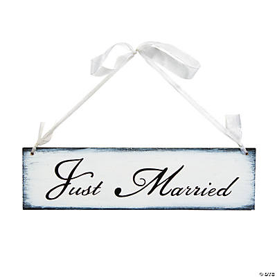 """Just Married"" Sign with Ribbon Hanger"
