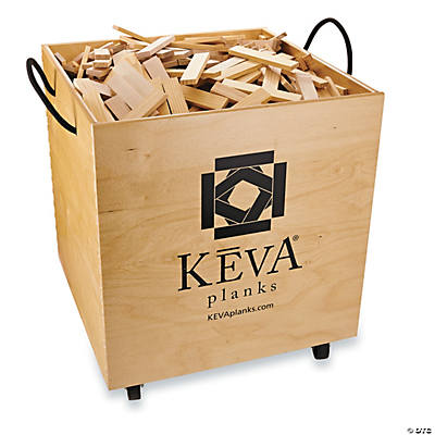 KEVA Maple 1,000 Planks in Wood Roller Bin