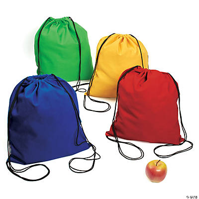 Large Bright Canvas Drawstring Backpacks