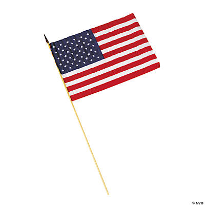 "Large Cloth American Flags - 12"" x 18"""