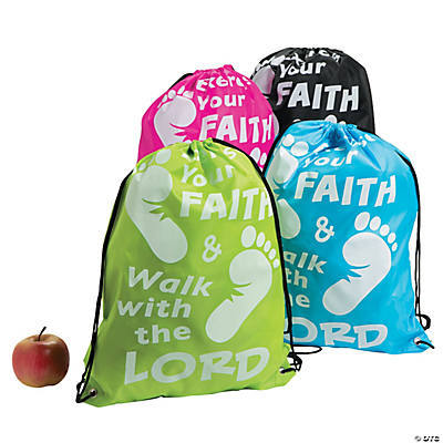 Large Exercise Your Faith Drawstring Bags