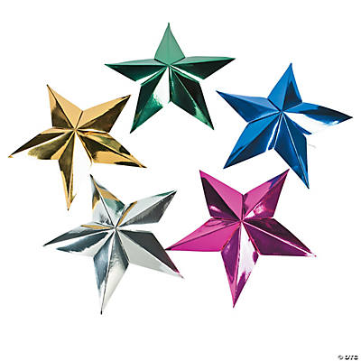 Large Metallic Star Decorations