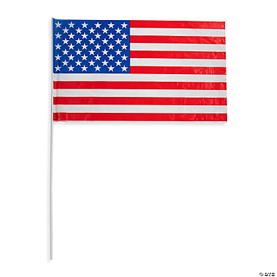"Large Plastic American Flags - 18"" x 11"""