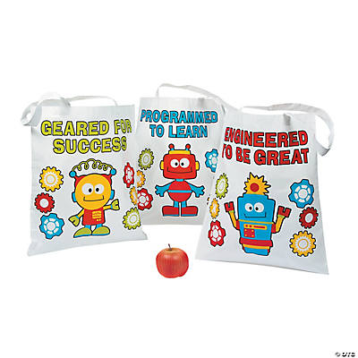Large Robots & Gears Tote Bags