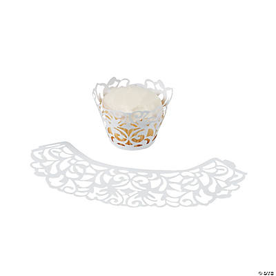 Laser-Cut Cupcake Wrappers - White