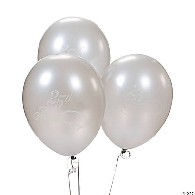 Latex Silver 25th Wedding Anniversary Balloons