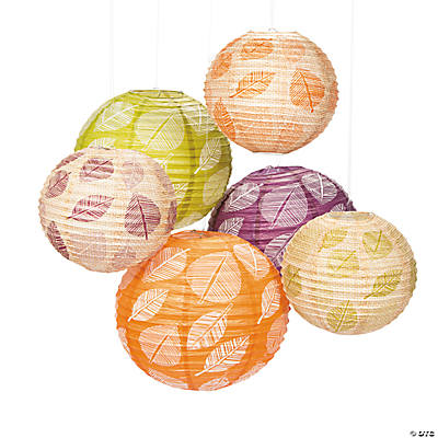 Leaf Print Paper Lantern Assortment