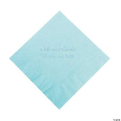Light Blue Personalized Beverage Napkins with Silver Print