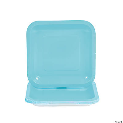 Light Blue Square Dessert Plates