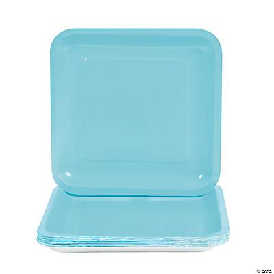Light Blue Square Paper Dinner Plates