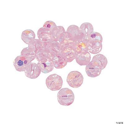 Light Pink Aurora Borealis Cut Crystal Round Beads - 8mm