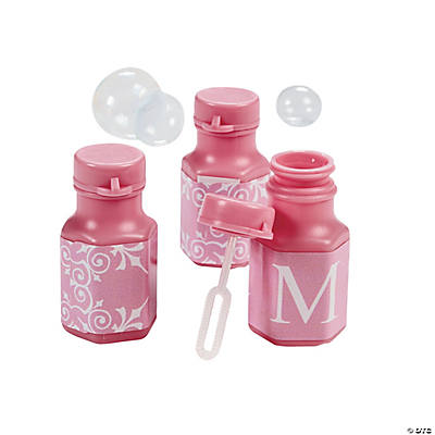 Light Pink Personalized Monogram Wedding Mini Bubble Bottles