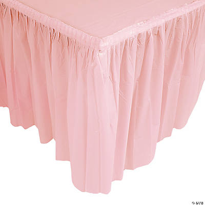 Light Pink Pleated Table Skirt