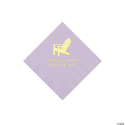 Lilac Beach Chair Personalized Napkins with Gold Foil – Beverage