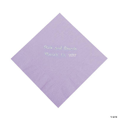 Lilac Personalized Beverage Napkins with Silver Print