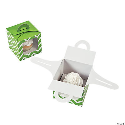 Lime Chevron Cupcake Boxes with Handle
