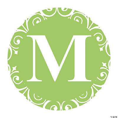 Lime Green Personalized Monogram Favor Stickers
