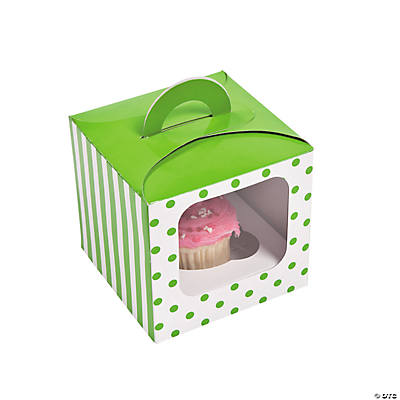 Lime Green Polka Dot Cupcake Boxes with Handle